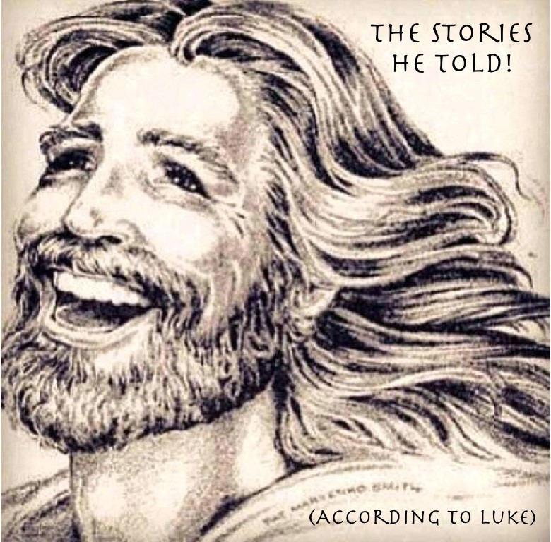 "Face of Jesus captioned ""The Stories He Told!"" according to Luke"